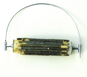 1990 Stick Brooch Sterling Silver, bronze, gold leaf, stainless steel, Muhling Collection