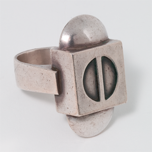 1990's Man's ring Cast Stirling Silver, Queensland Art gallery Collection, photo courtsey of QAG