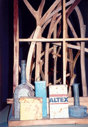 1994-Close-up-still-life-object,-recycled-tin,-timber-