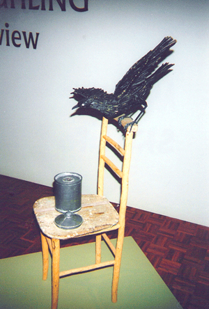1994-Nuclear-crow-Wood,-paper-mache,-lead--Muhling-Collection-