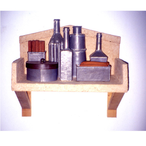 1994-Nuclear-shelf-still-life-Shelf,-Lead,-paper-mache