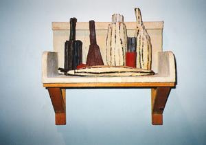 1994-Still-Life-Shelf-Twigs,-paper-mache,-wood,Private-Collection